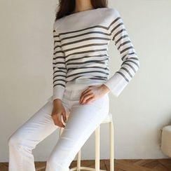 Hello sweety - Boat-Neck Stripe Knit Top