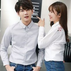 Azure - Couple Matching Embroidered Long-Sleeve Shirt
