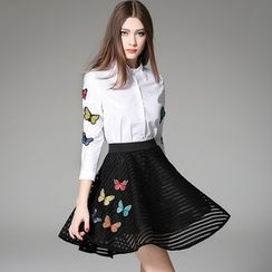 Y:Q - Set: Butterfly-Embroidered Blouse + A-Line Skirt