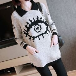 YIDIYU - Eye Print Collared Long Sweater