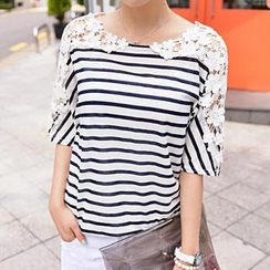 CLICK - Crochet Appliqué Dolman-Sleeve Striped T-Shirt