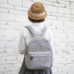 SUPER LOVER - Floral Print Canvas Backpack