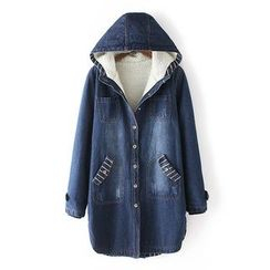 Heybabe - Hooded Long Denim Jacket