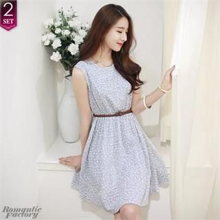 Romantic Factory - Sleeveless Floral Patterned Dress with Belt