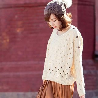 CatWorld - Buttoned Pointelle-Knit Sweater