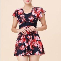 Sirene - Short-Sleeve Floral Swimsuit