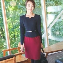 ode' - Mock Two-Piece Dress with Belt