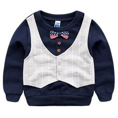 DEARIE - Kids Pinstriped Mock Two-Piece Pullover