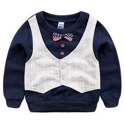 DEARIE - 兒童細條紋假兩件套衫