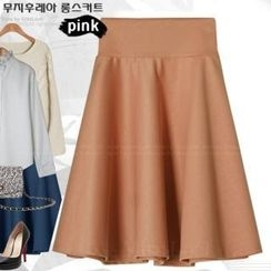 Miss Look - Band-Waist Pleated Midi Skirt