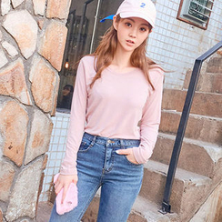 chuu - Round-Neck Colored T-Shirt