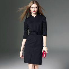 洛圖 - 五分袖開叉擺連衣裙