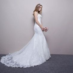 Posh Bride - Strapless Lace Long Train Wedding Dress