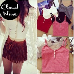Cloud Nine - Button-front Knit Camisole Top