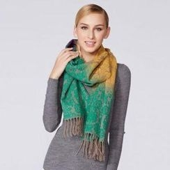 O.SA - Fringed Color-Block Patterned Scarf