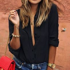 Eloqueen - Long-Sleeve Chiffon Shirt