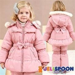 JELISPOON - Girls Faux-Fur Hooded Padded Ski Coat