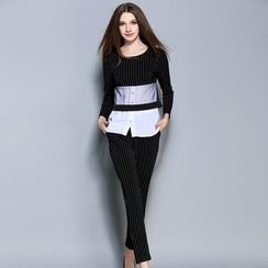 巧妮儿 - 套装: 长袖假两件上衣 + 修身裤