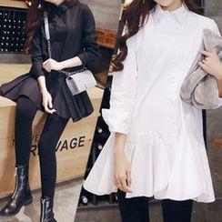 lilygirl - 純色長袖襯衫連衣裙