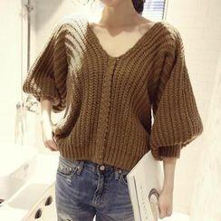 NANING9 - 3/4-Sleeve Rib-Knit Sweater
