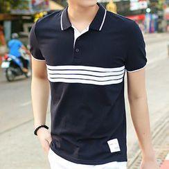 HANDA - Stripe Short-Sleeve Polo Shirt