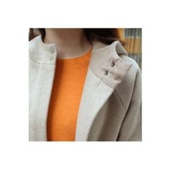 CHERRYKOKO - Hood Zip-Up Wool Blend Coat