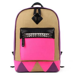 Mr.ace Homme - Color-Block Studded Backpack