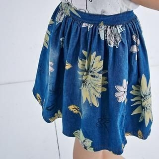 BAIMOMO - Flower-Print Denim A-Line Skirt