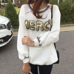 NIPONJJUYA - Láme-Lettering Paint-Stained Sweatshirt
