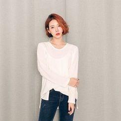 Seoul Fashion - Round-Neck Plaid T-Shirt