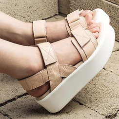 MIAOLV - Genuine Leather Velcro Strap Platform Sandals