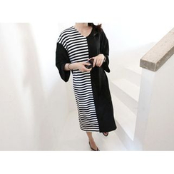 MARSHMALLOW - V-Neck Striped-Panel Dress