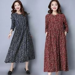 Diosa - Corduroy Floral Print Long-Sleeve Dress