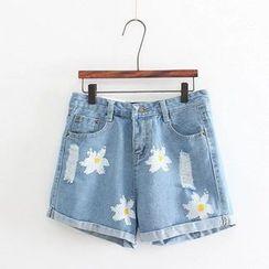 Aigan - Distressed Floral Denim Shorts