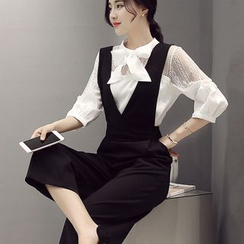 Lovi - Set: 3/4 Sleeve Blouse + Pinafore Culottes Jumpsuit