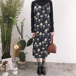 YUKISHU - Set: Long Sleeve Turtleneck T-Shirt + Floral Print Spaghetti Strap Dress