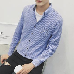 Besto - 熊刺繡條紋襯衫