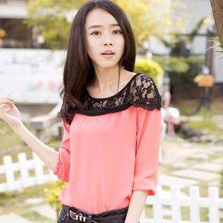 CatWorld - Lace-Neckline Chiffon Top