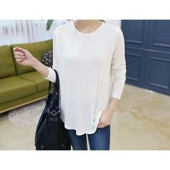 DANI LOVE - Long-Sleeve Round-Hem T-Shirt