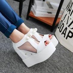 錦洋鞋業 - 網紗內襯厚底船跟涼鞋