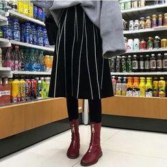 Shopherd - Pinstriped Midi Knit Skirt