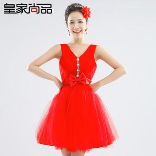 Royal Style - Sleeveless Bow Mini Prom Dress
