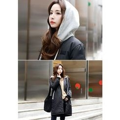 DEEPNY - Hooded Zip-Up Long Padded Coat