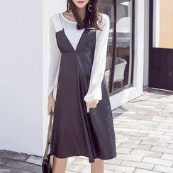 Aurora - 毛衣背带裙套装