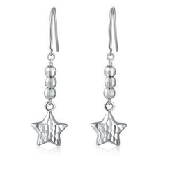 MaBelle - 14K/585 White Gold Star Dangle Earrings