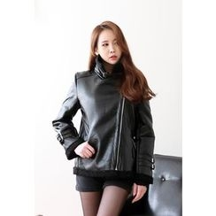 Dalkong - Funnel-Neck Belted Faux-Shearling Rider Jacket