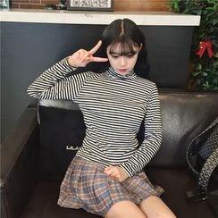Bloombloom - Striped Long Sleeve Turtleneck T-Shirt