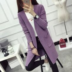 anzoveve - Cable-Knit Long Cardigan