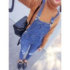 Eva Fashion - 做舊水洗背帶牛仔褲