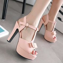 Sidewalk - Bow T-Strap Platform High Heel Sandals